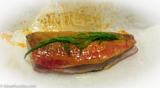 Red mullet with incrustation of its guts and eucalyptus (unwrapped)