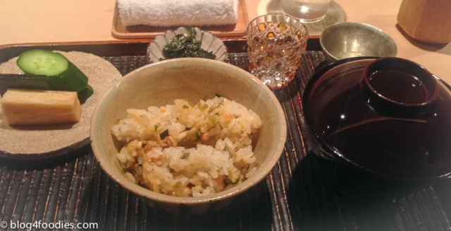 Steamed rice with fresh Sea Urchin, Short-neck Clam and Wasabi Buds. Miso soup and pickled vegetables.