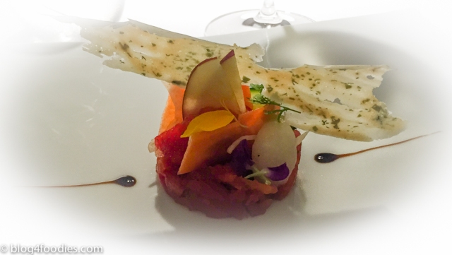 Assorted vegetable and fruit plate with braised tomato