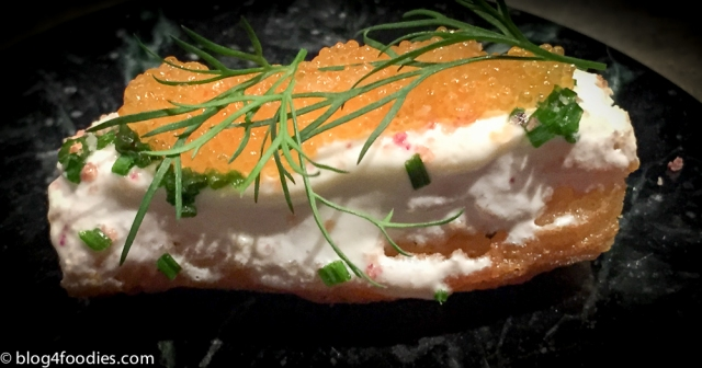 Churro. Whitefish roe. Dill. Chives. Sour cream. Red onion salt.