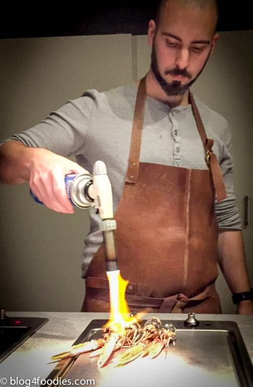 Preparing the langoustines.
