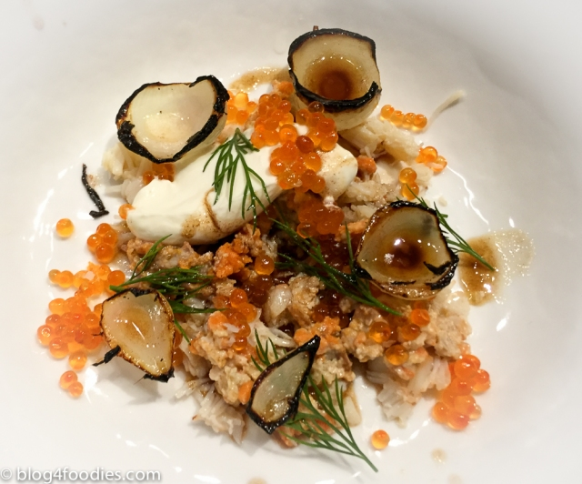King crab. Yogurt. Dill. Butter. onions. Trout roe.