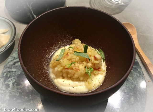 Cauliflower Puree with Roasted white chocolate. Jonagold apple with Ume (plum). Grated licorice root. Dragon.