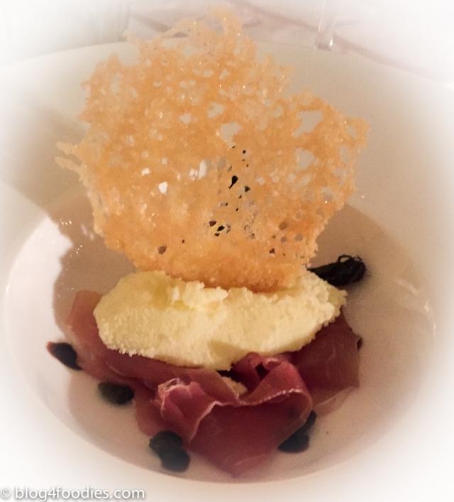 Parmesan ice cream with prosciutto