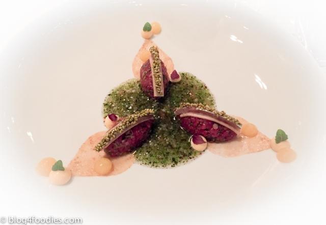 Tatar of beef & sardine - Marinated black radish, coriander, miso, yuzu & burdock root