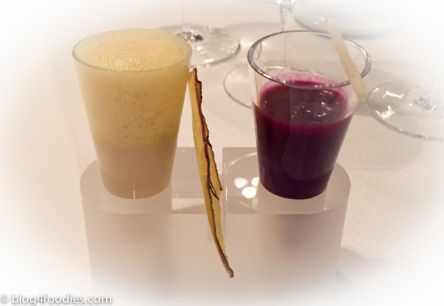 Soup shots – Kefir, yellow beetroot & dill / Red cabbage & spiced apple