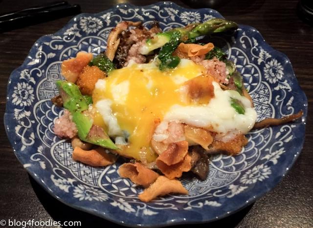 Asparagus, chanterelles, eggs, roe...