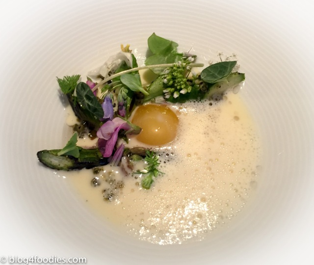 """Wild Herbs, Grilled Asparagus, Smoked Pork Fat & Melted """"Vesterhavs"""" Cheese"""