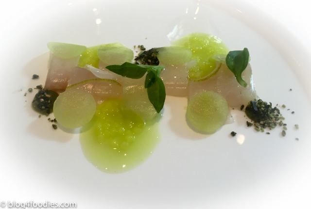 Gilthead sashimi, celtuce & apple