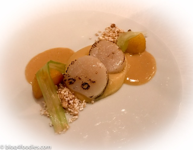 Flamed scallops with smoked potato cream celery and buckwheat